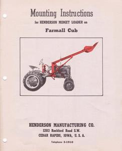 Henderson Loader Brochures/Manuals for Cub, Lo-Boy, Super A